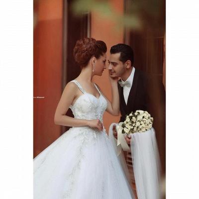 Weiß Brautkleider Perlen Träger Organza Hochzeitskleider Brautmoden_4