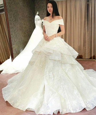 Schicke Weiß Brautkleider Spitze Blumen Organza Hochzeitskleider Nachmaße_1
