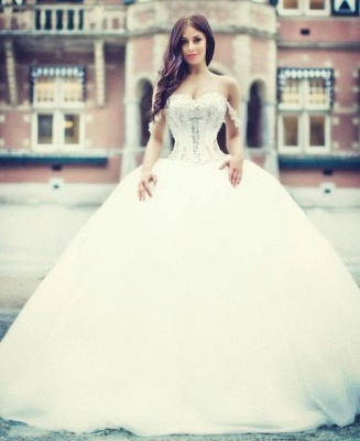Prinzessin Brautkleider Mit Spitze Perlen Organza Hochzeitskleider Brautmoden_1