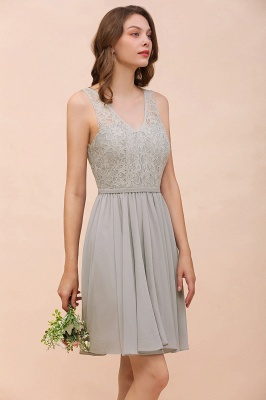 Silver Bridesmaid Dresses Short Cheap | Chiffon dresses with lace_9