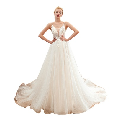 Modern wedding dress A line | Tulle wedding dresses with lace_22