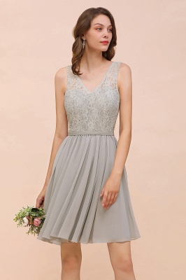 Silver Bridesmaid Dresses Short Cheap | Chiffon dresses with lace_8