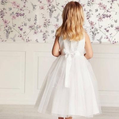 Blumenmädchen Kleid Spitze | Kinder Blumenmädchen Kleider Weiß_3
