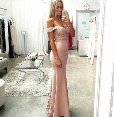 Pink Prom Dresses Long Cheap Lace Mermaid Evening Wear Prom Dresses_2