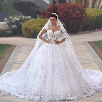 Luxury white wedding dresses lace a line straps wedding dresses with train_1
