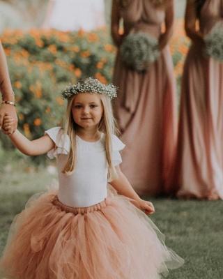 Blumenmädchen Kleid Apricot Tüll | Kinder Blumenmädchen Kleider_2