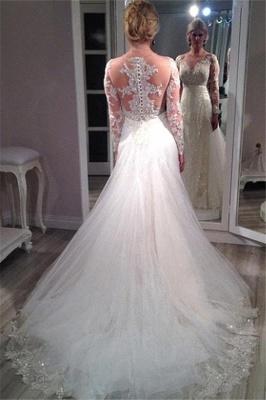 Long Sleeves Wedding Dresses White With Lace Tulle Mermaid Wedding Fashion Dresses_3