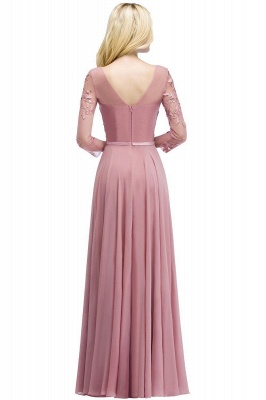 Pink evening dress long V neckline | Prom dresses lace sleeves_7