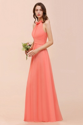 Coral Brautjungfernkleider Lang Günstig | Chiffon Kleider für Brautjungfern_5