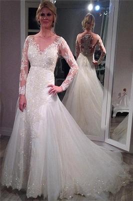 Long Sleeves Wedding Dresses White With Lace Tulle Mermaid Wedding Fashion Dresses_1