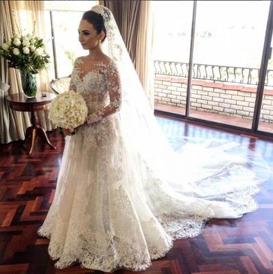 Nachmäßig Anfertigen Weiß Brautkleider Mit Ärmel Spitze A Linie Hochzeitskleider_2