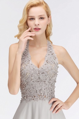 Silver Evening Dresses Long V Neck | Evening dress with lace_12