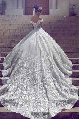 Weiß Brautkleid Spitze Schulterfrei Prinzessin Hochzeitskleider Brautmoden Günstig_2