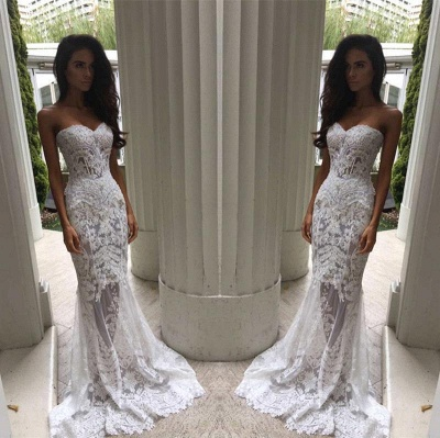 Chic White Wedding Dresses Lace Beaded Mermaid Bridal Wedding Dresses_4