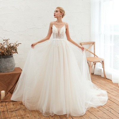 Modern wedding dress A line | Tulle wedding dresses with lace_8