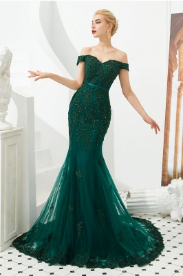 Evening dress green | Long lace prom dresses_2