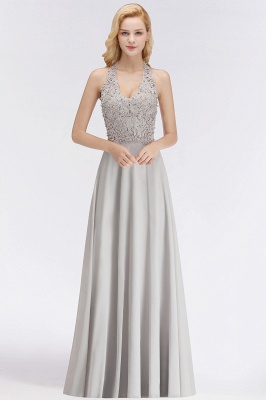 Silver Evening Dresses Long V Neck | Evening dress with lace_6