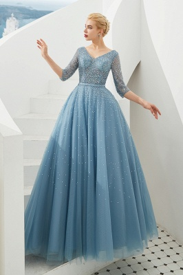 Evening dresses blue | Prom dresses long with sleeves_3