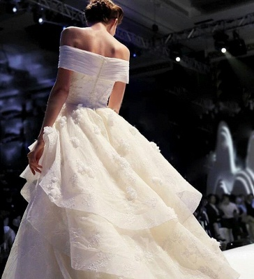 Schicke Weiß Brautkleider Spitze Blumen Organza Hochzeitskleider Nachmaße_4