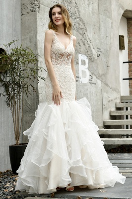 Fashion wedding dress with lace | Mermaid wedding dress_3
