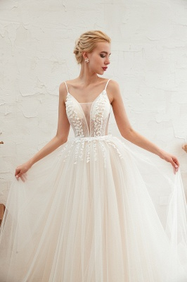 Modern wedding dress A line | Tulle wedding dresses with lace_21