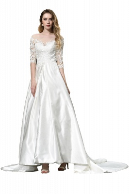 Standamt Hochzeitskleid A Linie | Brautkleider Lange Ärmel_10