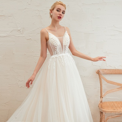 Modern wedding dress A line | Tulle wedding dresses with lace_13
