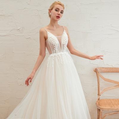 Modern Brautkleid A linie   Tülle Hochzeitskleider mit Spitze_13