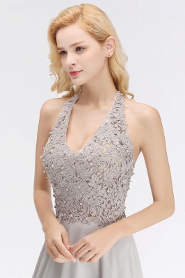 Silver Evening Dresses Long V Neck | Evening dress with lace_11