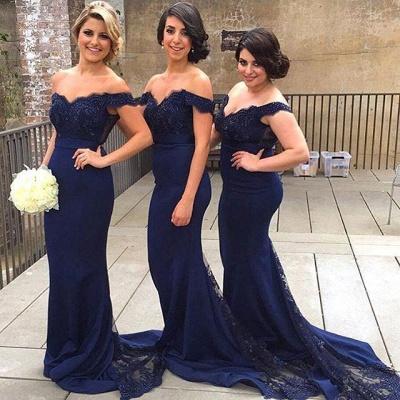 Navy Blau Lange Brautjungfernkleider Spitze Günstig Meerjungfrau Kleider Für Brautjungfern_2