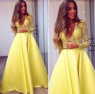 Evening Dress Yellow Long Sleeves Lace A Line V Neckline Evening Dresses Prom Dresses_3