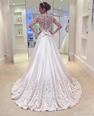 Brautkleider Lang Ärmel V Ausschnitt Weiß Brautmoden Mit Spitze Hochzeitskleider_2