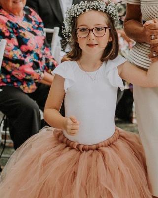 Blumenmädchen Kleid Apricot Tüll | Kinder Blumenmädchen Kleider_3