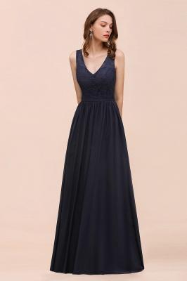 Brautjungfernkleider Lang Navy Blau | Chiffon Kleider Für Brautjungfern_4