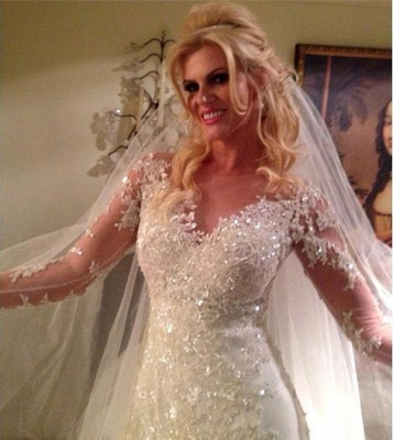 Long Sleeves Wedding Dresses White With Lace Tulle Mermaid Wedding Fashion Dresses_2