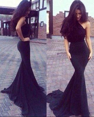One Shoulder Black Evening Dresses Long Cheap Mermaid Evening Wear Prom Dresses_1
