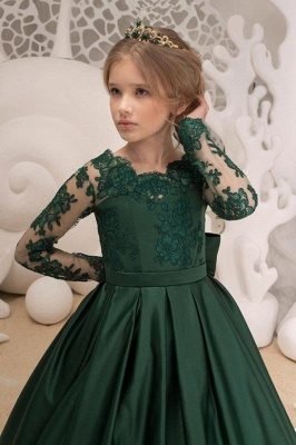 Blumenmädchen Kleid Grün Langarm | Blumenmädchenkleider für Kinder_3