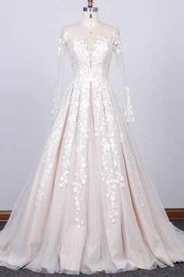 Elegant wedding dress A line | Lace bridal wear with sleeves_1