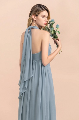 Steel Blue Brautjungfernkleider Lang |  Chiffon Kleider Günstig_12