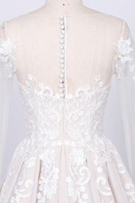 Elegant wedding dress A line | Lace bridal wear with sleeves_4