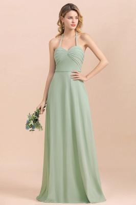 Grüne Brautjungfernkleider Lang Chiffon   Günstige Hochzeitspartykleider_4
