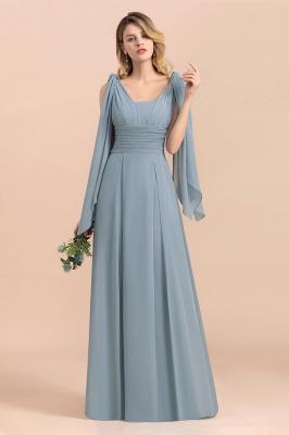 Steel Blue Brautjungfernkleider Lang |  Chiffon Kleider Günstig_5