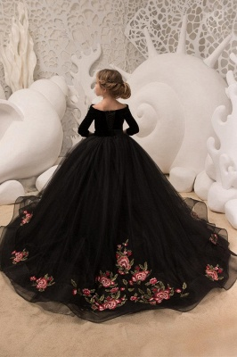 Black flower girl dresses long sleeve | Flower girl dresses children_2