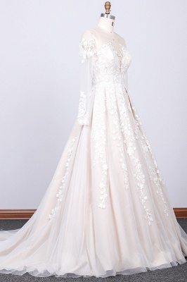 Elegant wedding dress A line | Lace bridal wear with sleeves_3