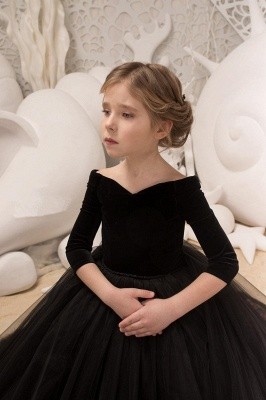 Black flower girl dresses long sleeve | Flower girl dresses children_3
