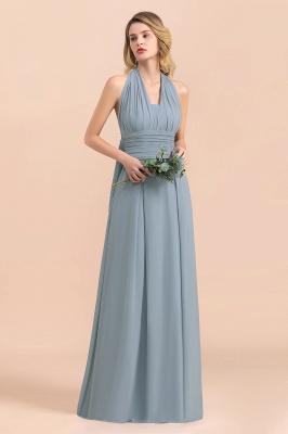 Steel Blue Brautjungfernkleider Lang |  Chiffon Kleider Günstig_6