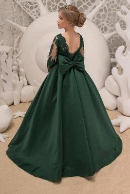Blumenmädchen Kleid Grün Langarm | Blumenmädchenkleider für Kinder_2