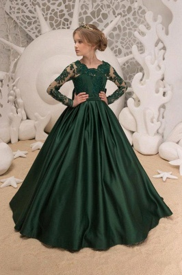 Blumenmädchen Kleid Grün Langarm | Blumenmädchenkleider für Kinder_1