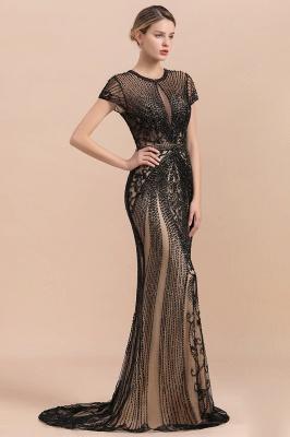 Elegante Abendkleider Lang Schwarz | Abiballkleider mit Glitzer_4