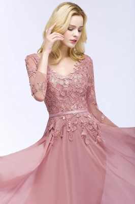 Pink evening dress long V neckline | Prom dresses lace sleeves_11